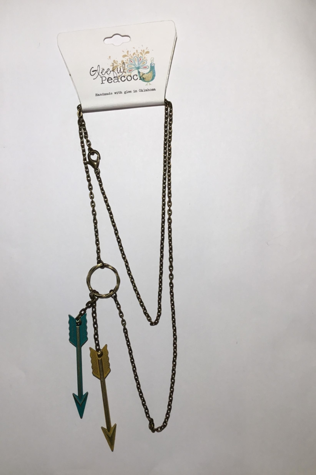 Gleeful Peacock Double Arrow Necklace - Main Image