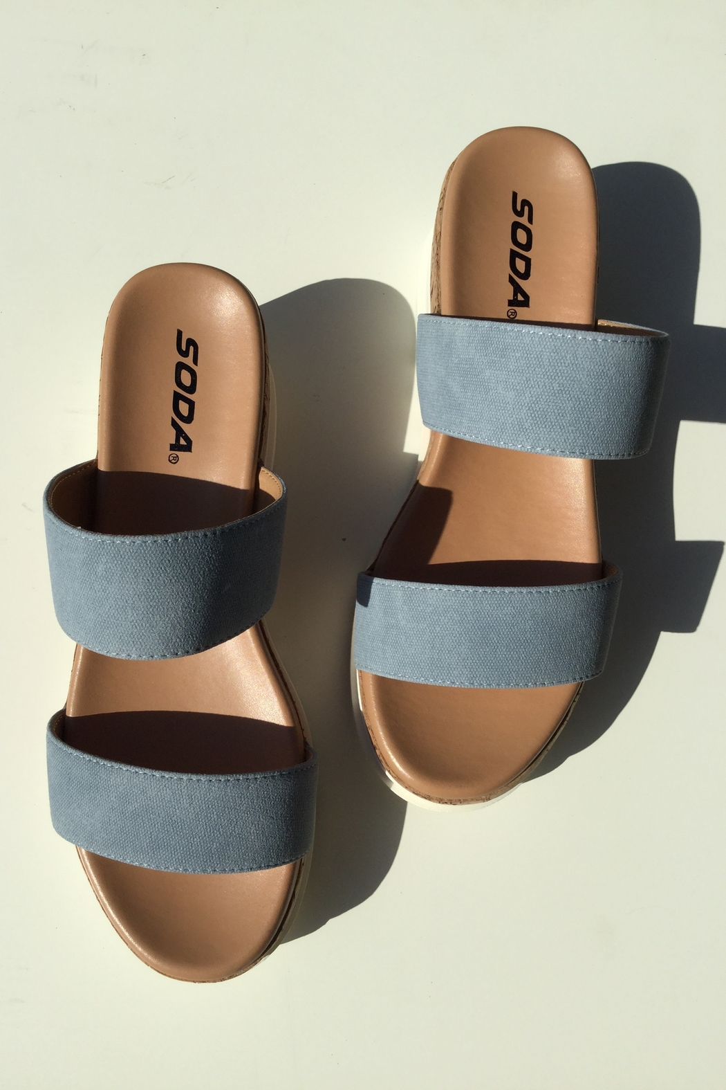 Soda Double Band Chunky Sandal - Front Cropped Image