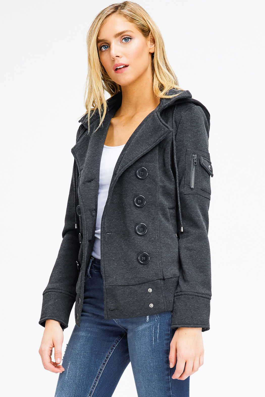 MONTREZ DOUBLE BREASTED HOODED JACKET - Front Full Image