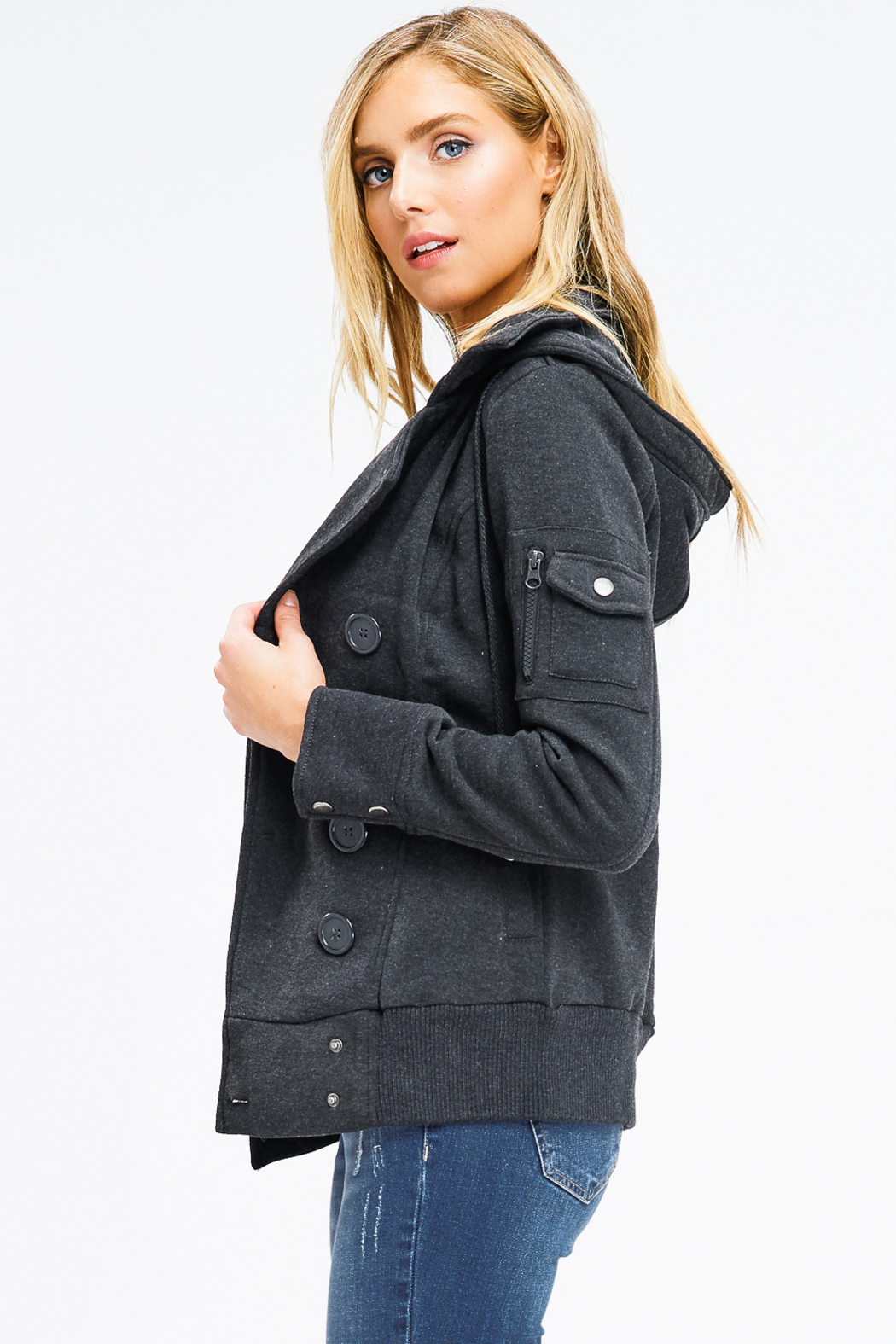 MONTREZ DOUBLE BREASTED HOODED JACKET - Side Cropped Image