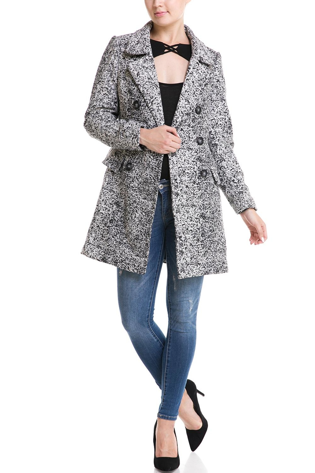 MICHEL Double Breasted Jacket - Front Full Image