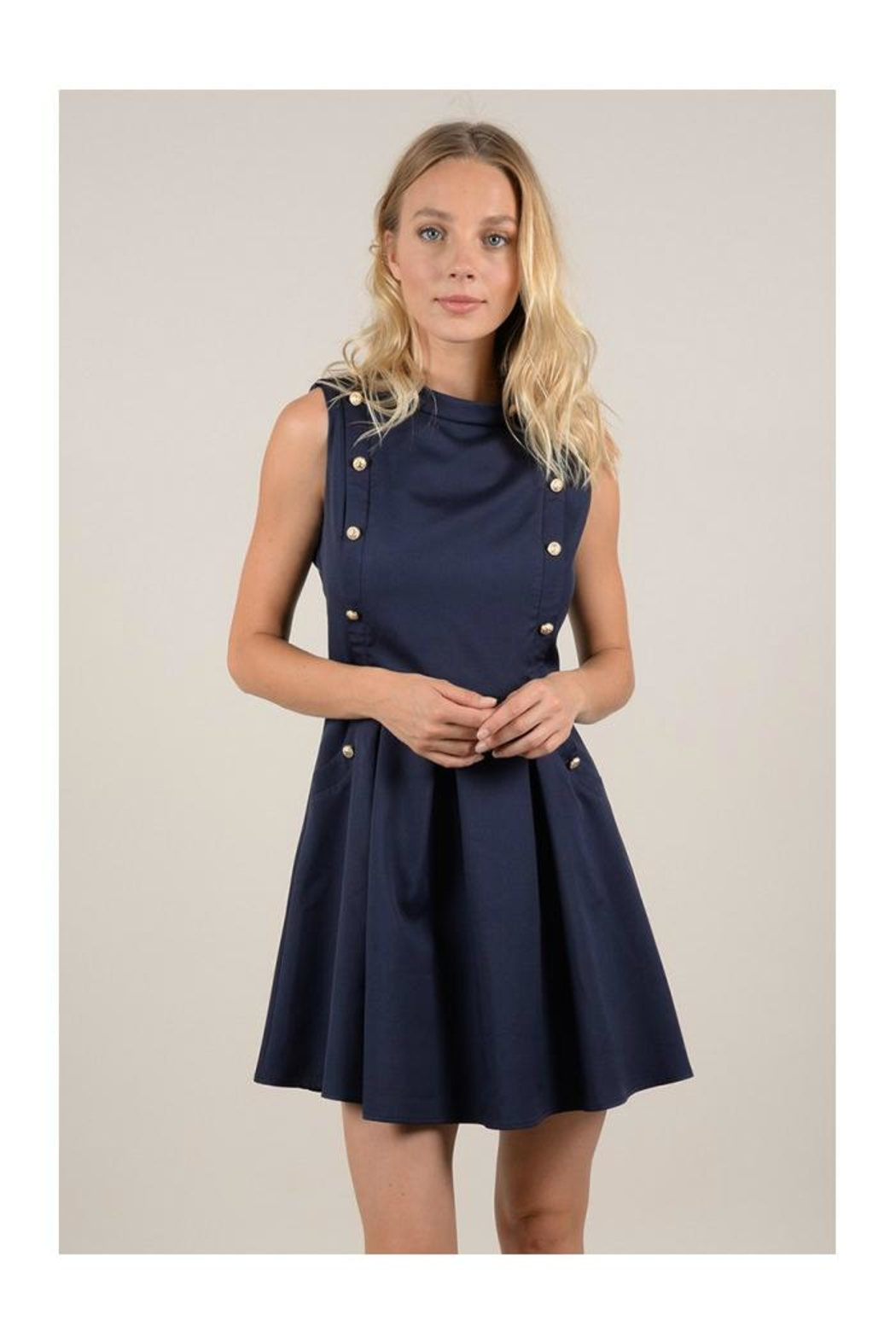 Molly Bracken Double Button Dress - Front Full Image