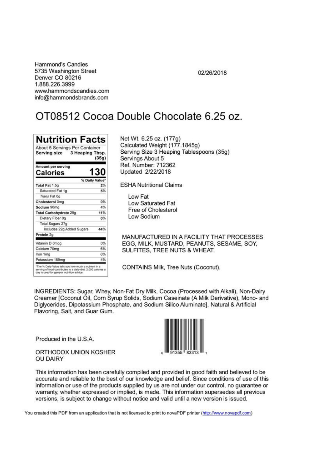Hammond's Candies Double Chocolate Cocoa - Front Full Image