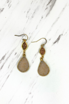 Shoptiques Product: Double Drop Druzy Earring