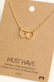 Fame Accessories Double Heart Link Necklace - Product Mini Image
