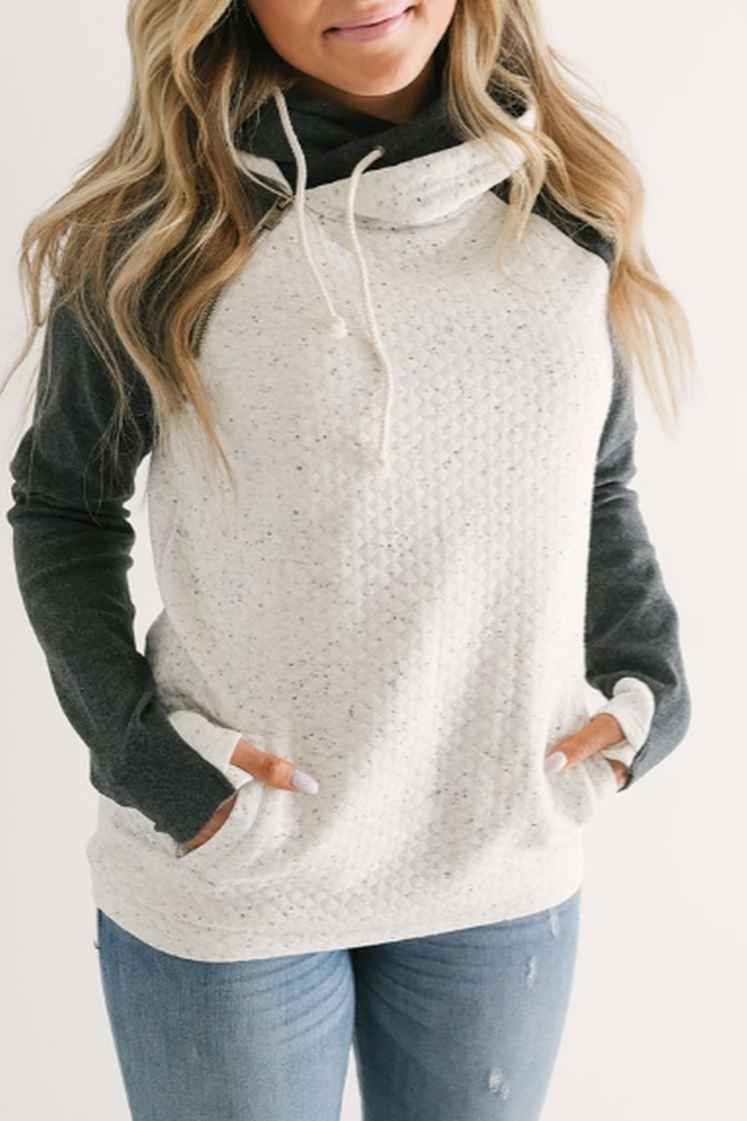 Ampersand Double Hooded Sweatshirt - Front Cropped Image