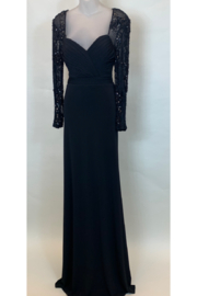 Terani Couture DOUBLE JERSEY LONG SLEEVE GOWN - Front cropped