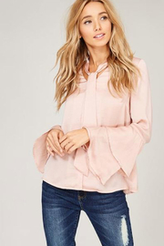Listicle Double Layer Bell Sleeve Tie Top - Product Mini Image