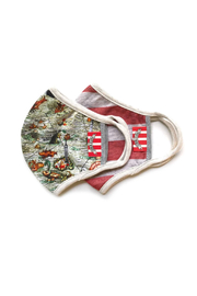 Paper Wings Double Layer Jersey Kids Face Mask - Monster Map/Rusty Red Stripe (2 - 7 Years) - Front cropped