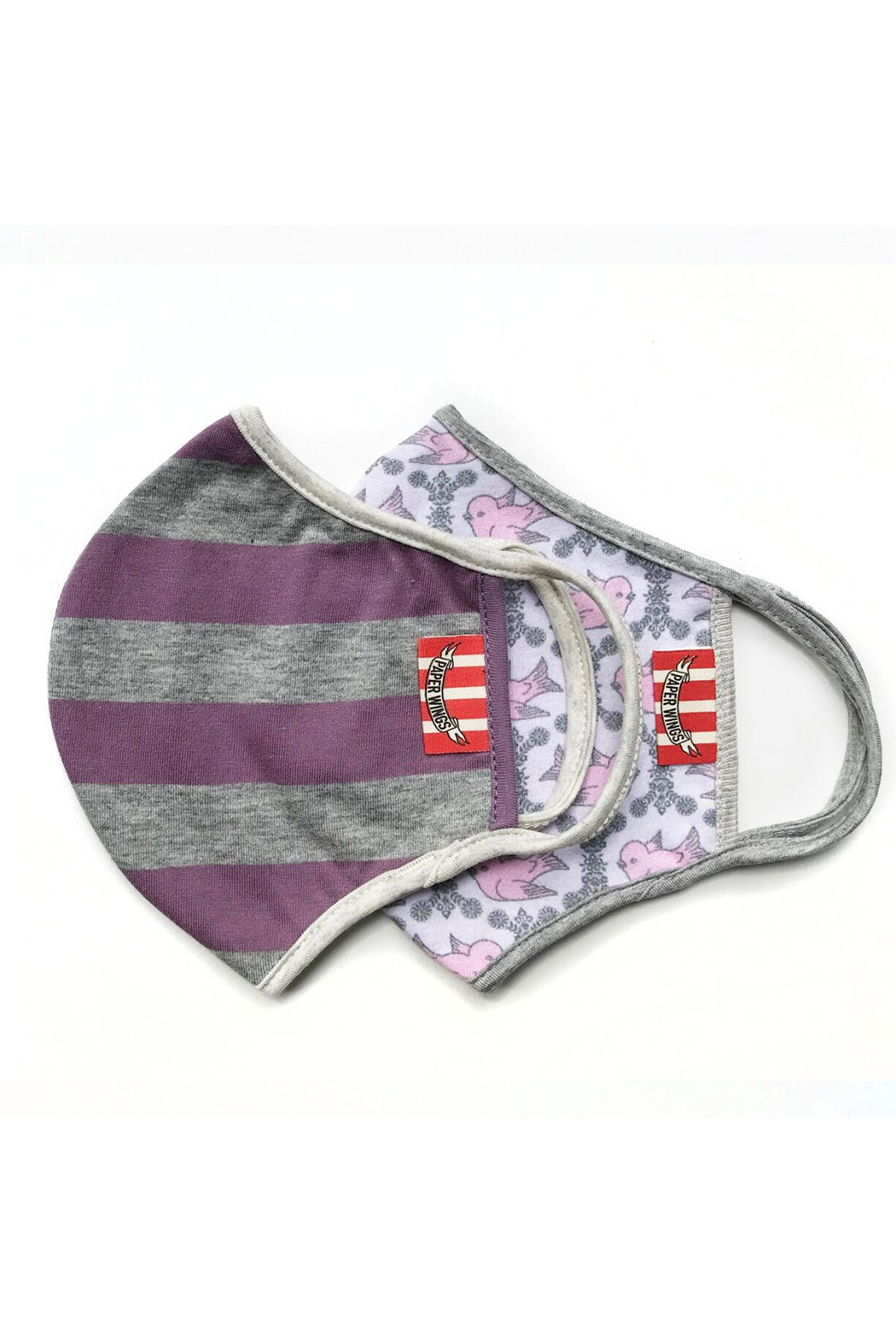 Paper Wings Double Layer Organic Cotton Face Mask (7+ Years) - Purple Grey Stripe/Vintage Birds - Main Image