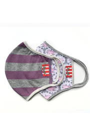 Paper Wings Double Layer Organic Cotton Face Mask (7+ Years) - Purple Grey Stripe/Vintage Birds - Front cropped
