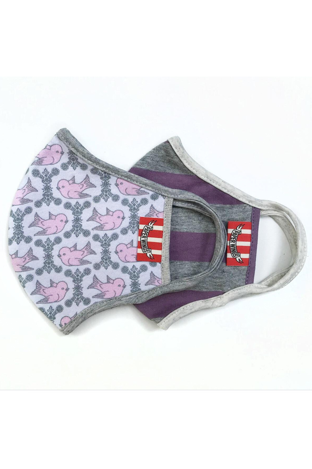 Paper Wings Double Layer Organic Cotton Face Mask (7+ Years) - Purple Grey Stripe/Vintage Birds - Front Full Image