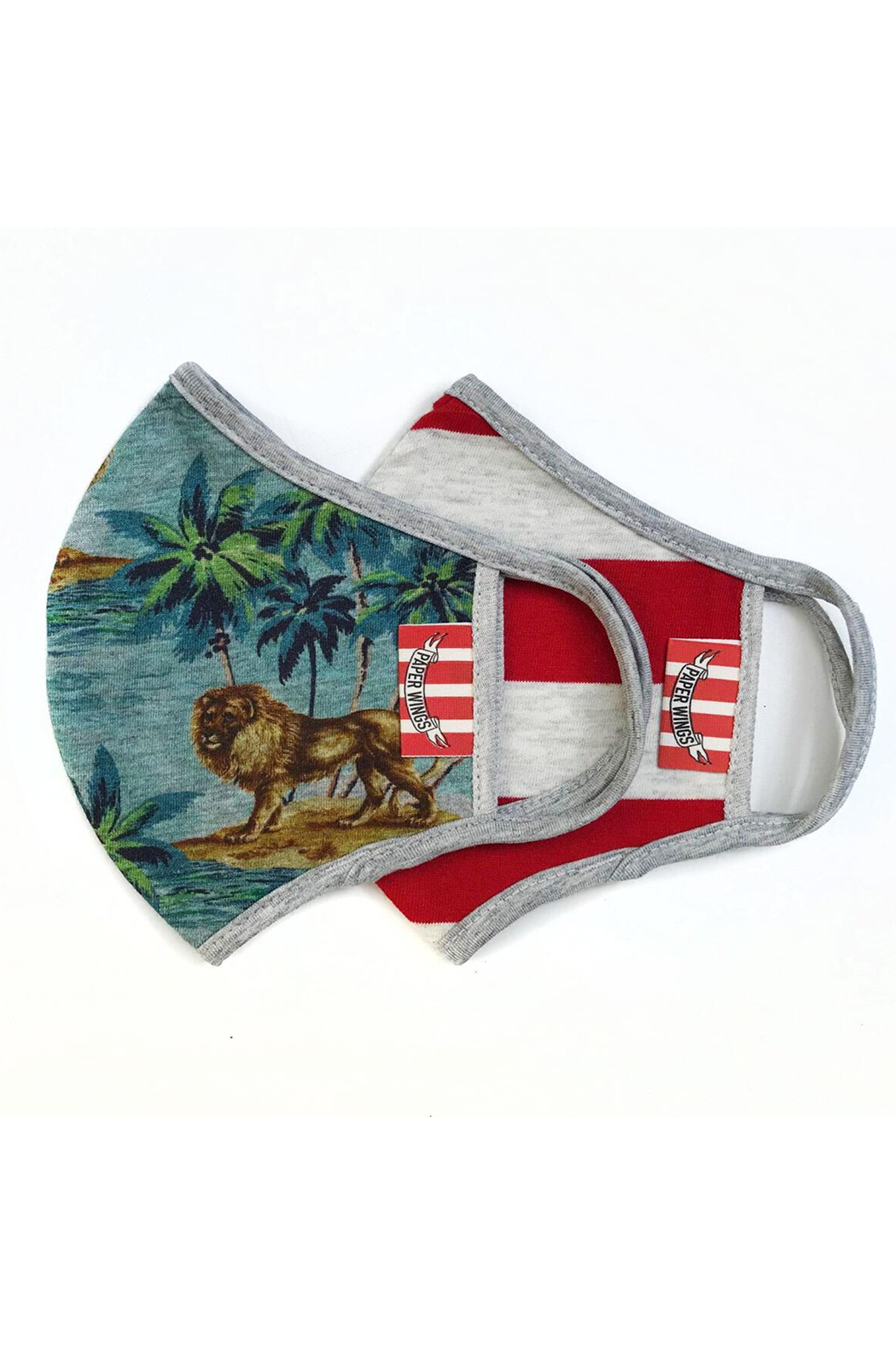 Paper Wings Double Layer Organic Cotton Face Masks (2-7 Years) - Hawaiian Lion/Red Stripe - Main Image