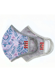 Paper Wings Double Layer Organic Cotton Face Masks (7+ Years) - Birds And Flowers/Pink Stars - Front cropped
