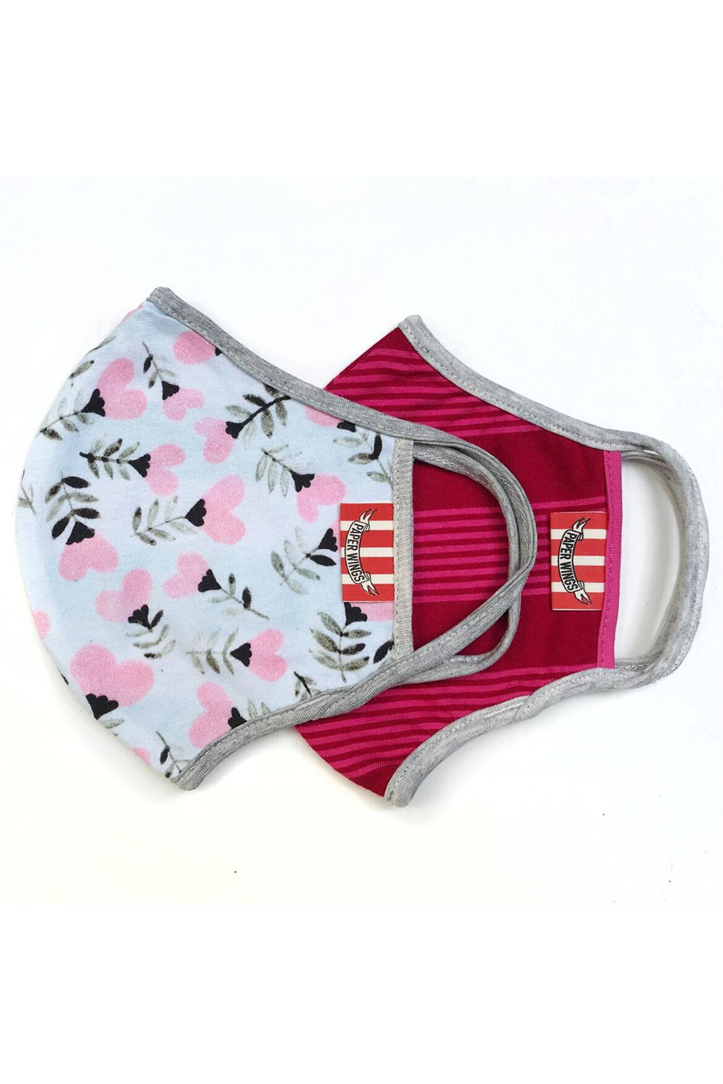Paper Wings Double Layer Organic Cotton Face Masks (7+ Years) - Heart Flowers/Vintage Pink Stripe - Main Image