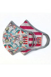Paper Wings Double Layer Organic Cotton Face Masks (7+ Years) - Robin Floral/Watermelon Stripe - Front cropped