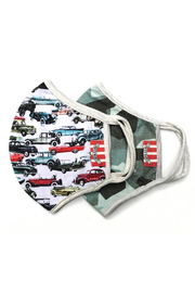 Paper Wings Double Layer Organic Cotton Jersey Adults Face Mask - Vintage Cars/Green Camo (7+ Years) - Product Mini Image