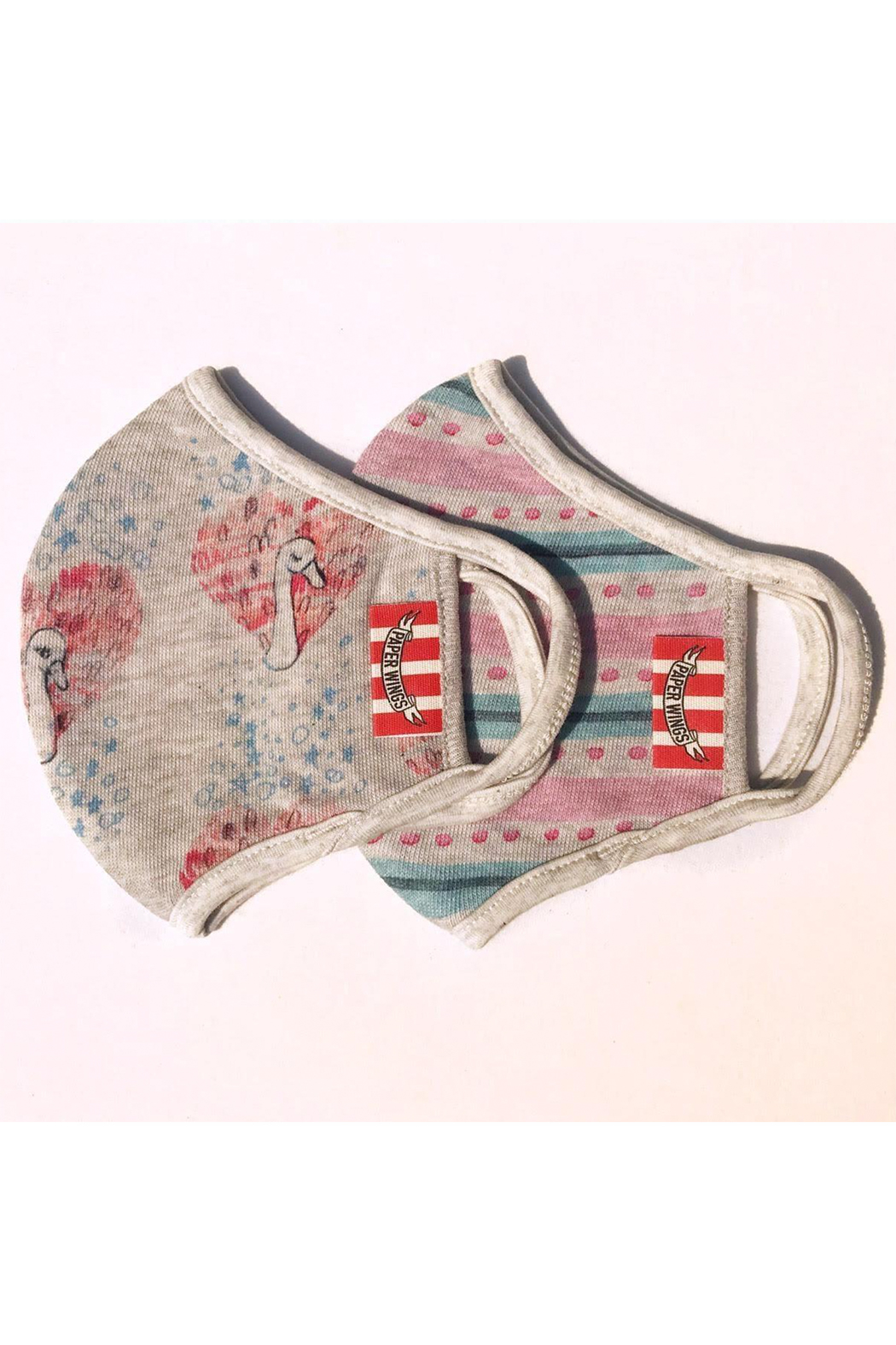 Paper Wings Double Layer Organic Cotton Jersey Face Masks  (2-7 Years) - Swans And Pink/Green Stripe - Main Image