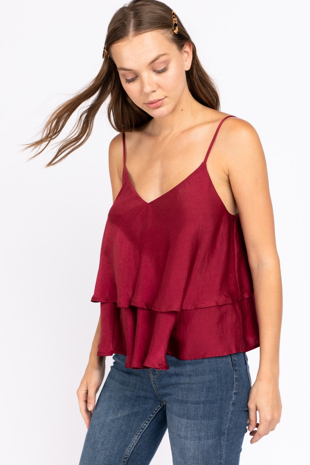 Le Lis Double Layer Satin Cami - Front Full Image