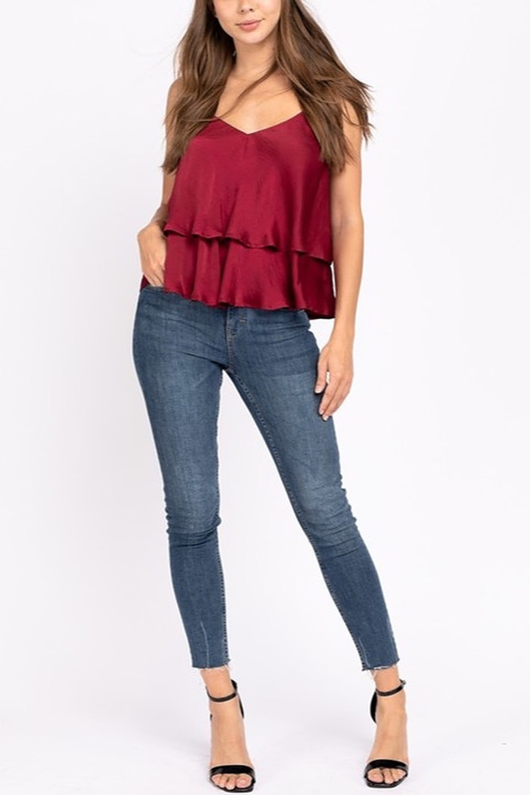 Le Lis Double Layer Satin Cami - Front Cropped Image