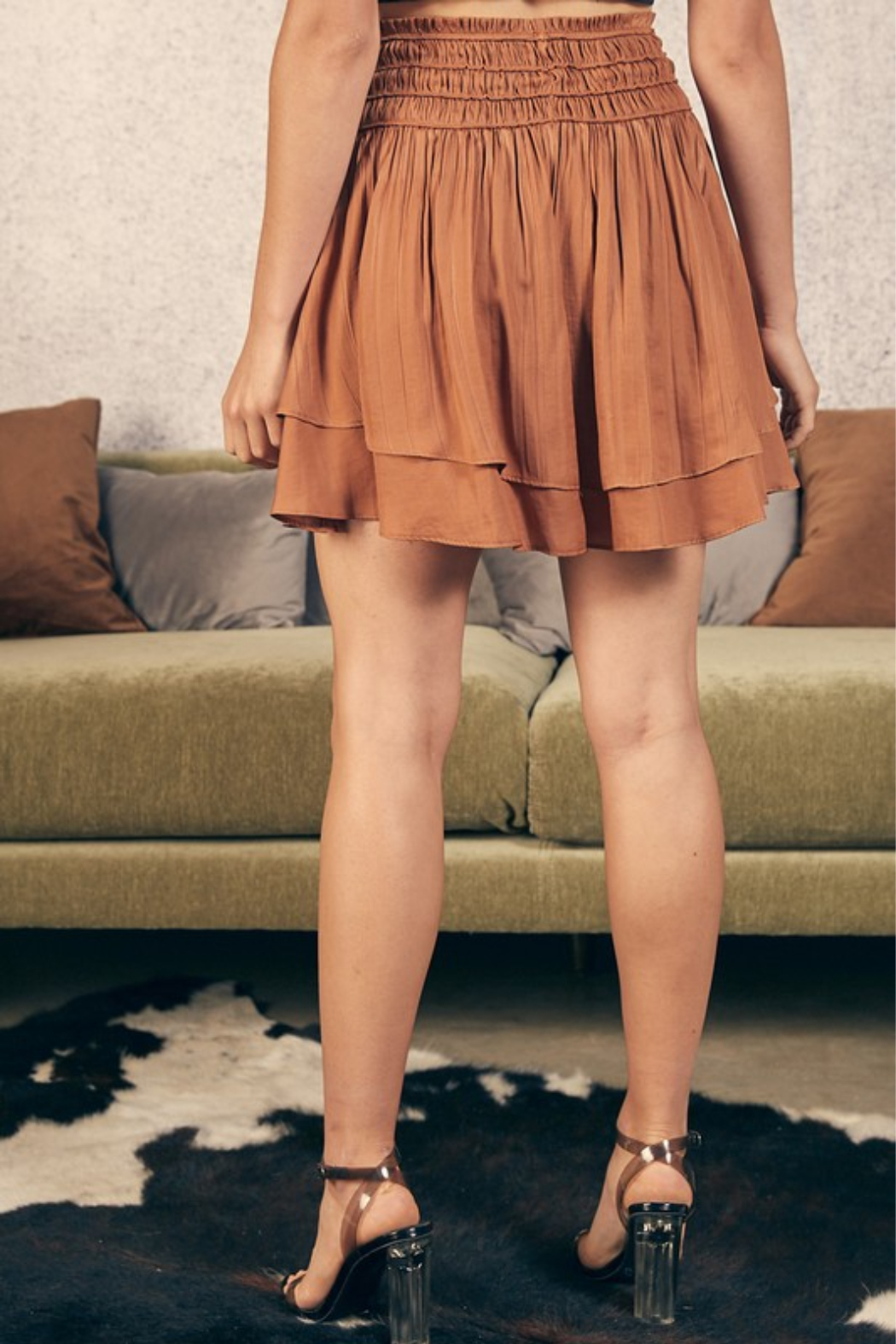 Mustard Seed Double Layer Skirt - Side Cropped Image