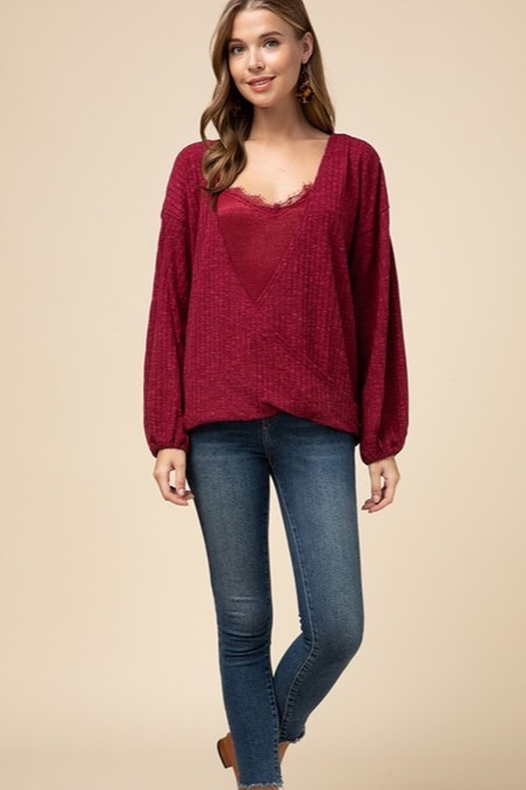 Entro Double layer surplice top - Front Cropped Image