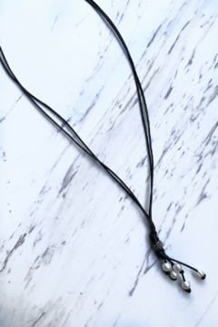 Shoptiques Product: Double Leather Cord  Necklace w Pearls