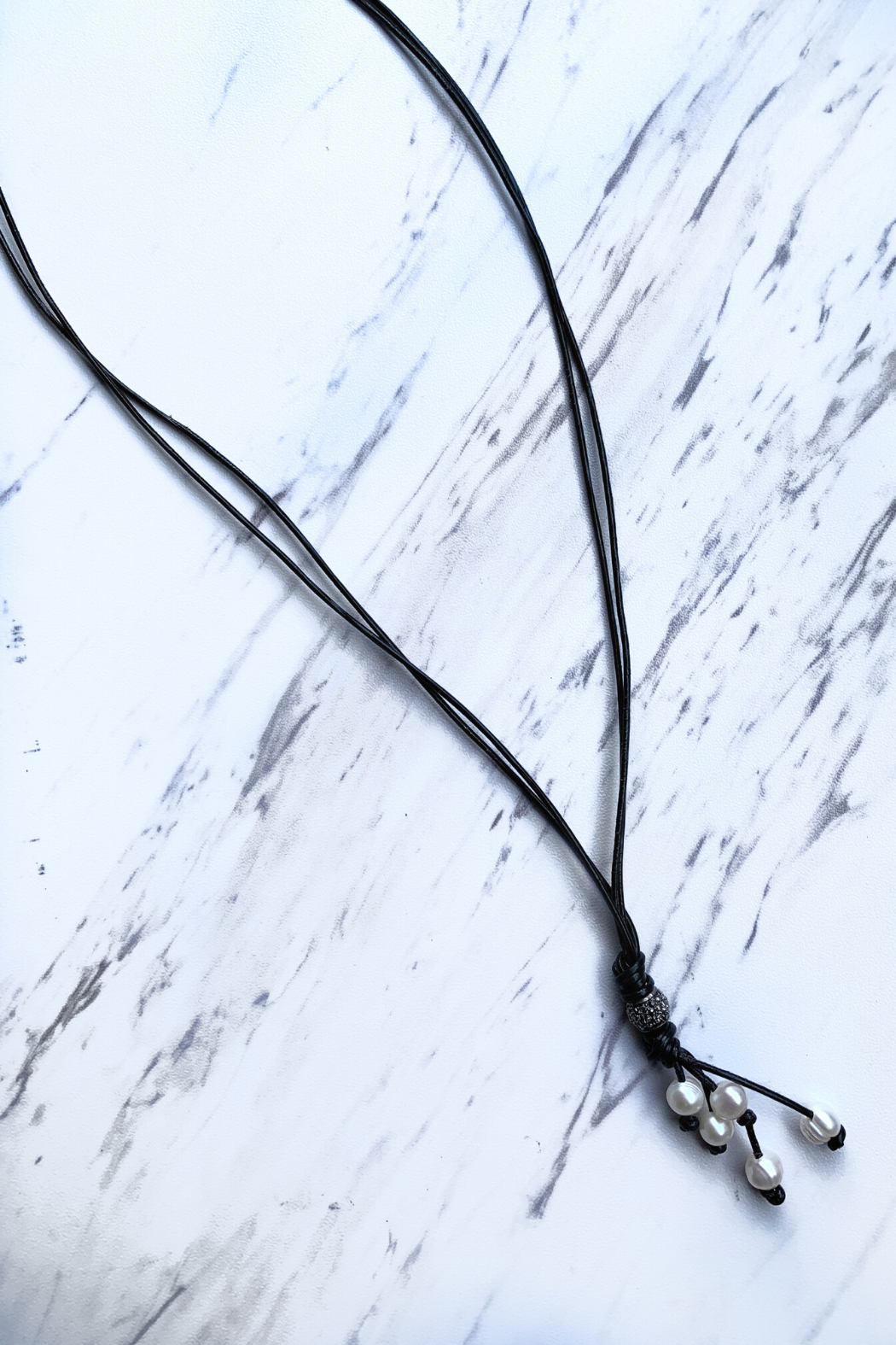 Deux Amies Double Leather Cord  Necklace w Pearls - Main Image
