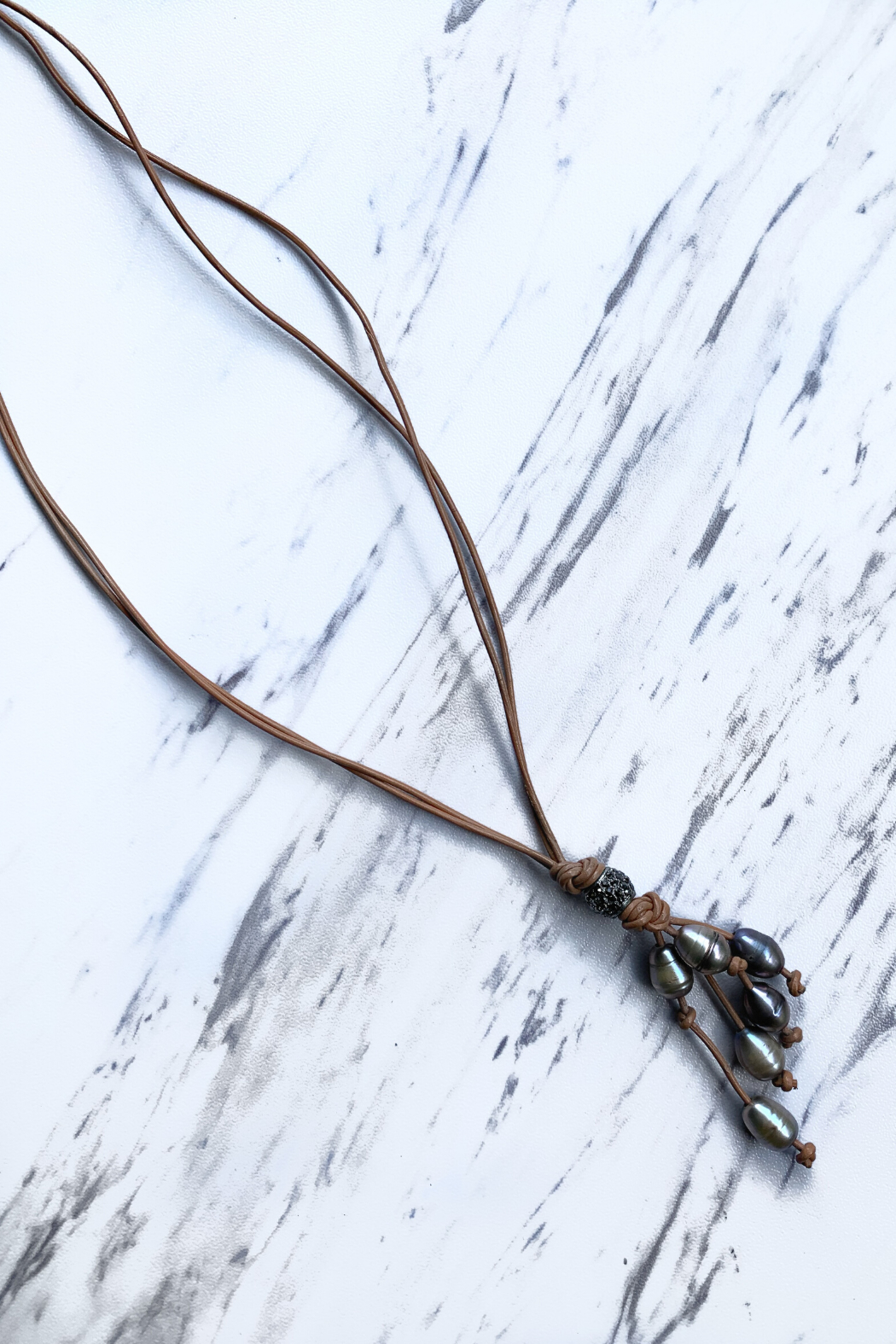 Deux Amies Double Leather Cord  Necklace w Pearls - Front Cropped Image