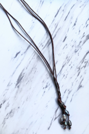 Deux Amies Double Leather Cord  Necklace w Pearls - Front cropped