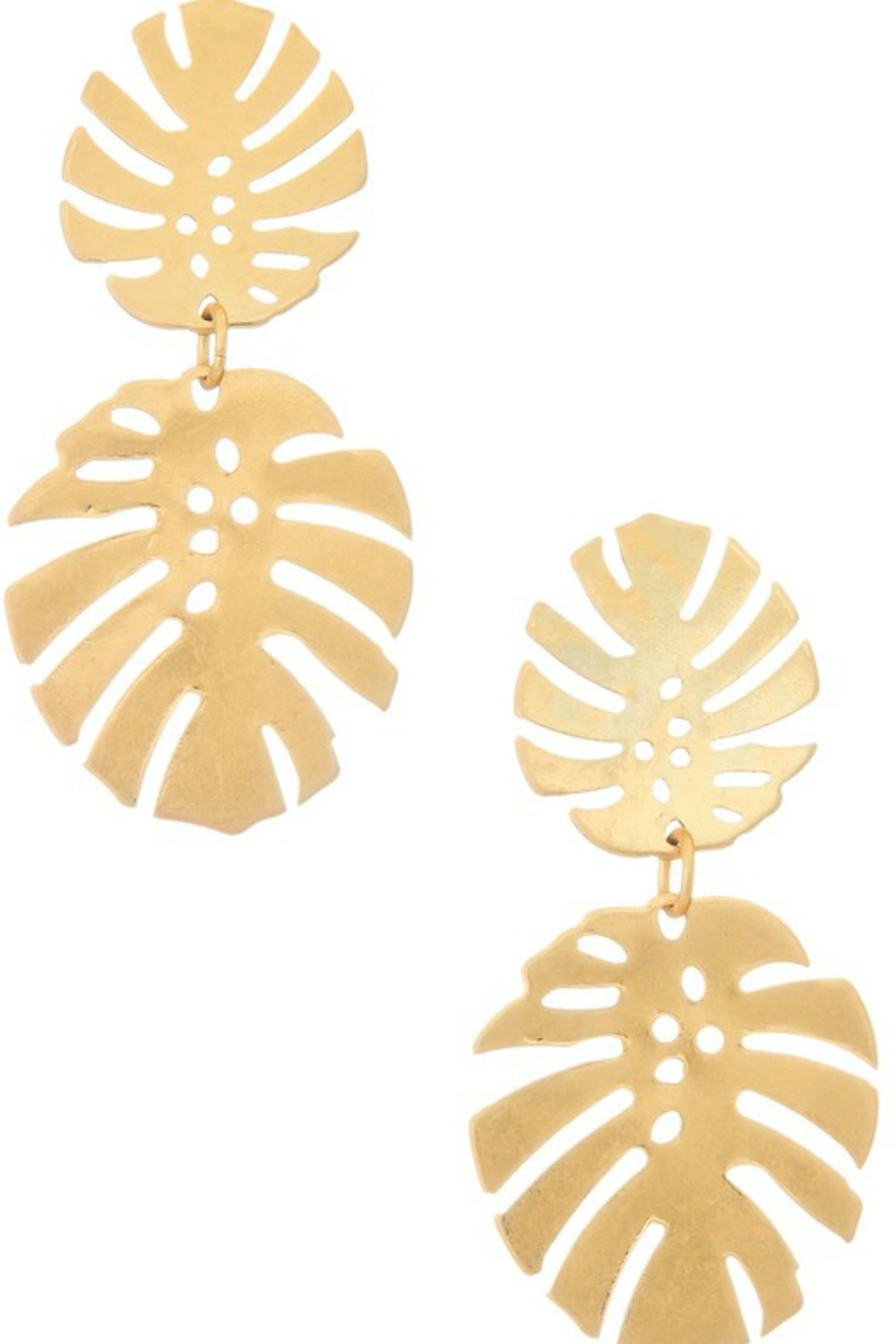 Girly Double Monstera Dangle Earrings - Front Cropped Image