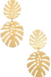 Girly Double Monstera Dangle Earrings - Front cropped