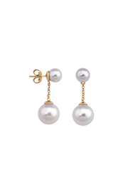 Majorica Double Pearl Drop Earring - Front cropped