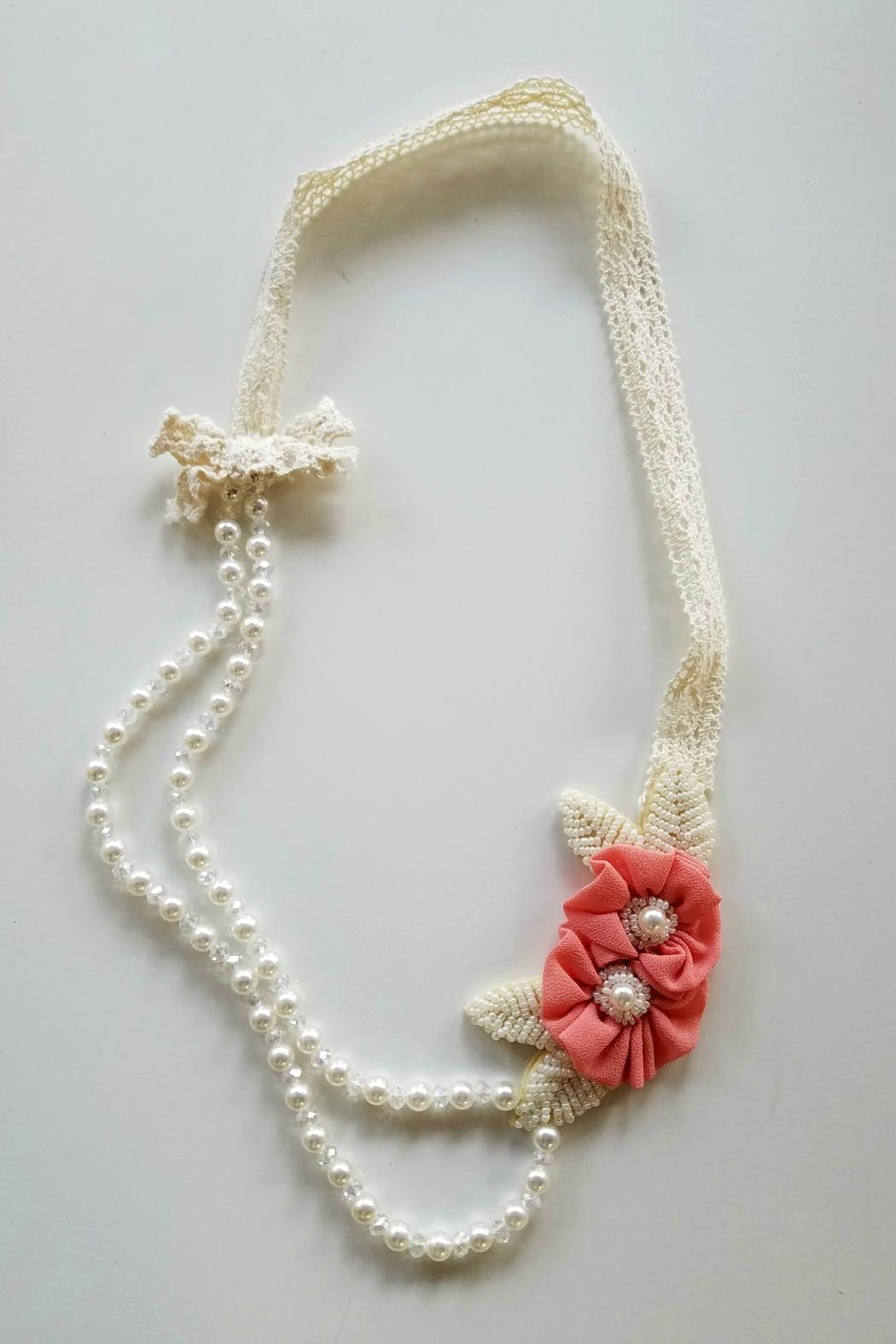 ML Kids Double-Rosette-Beaded-Pearl-Necklace - Main Image
