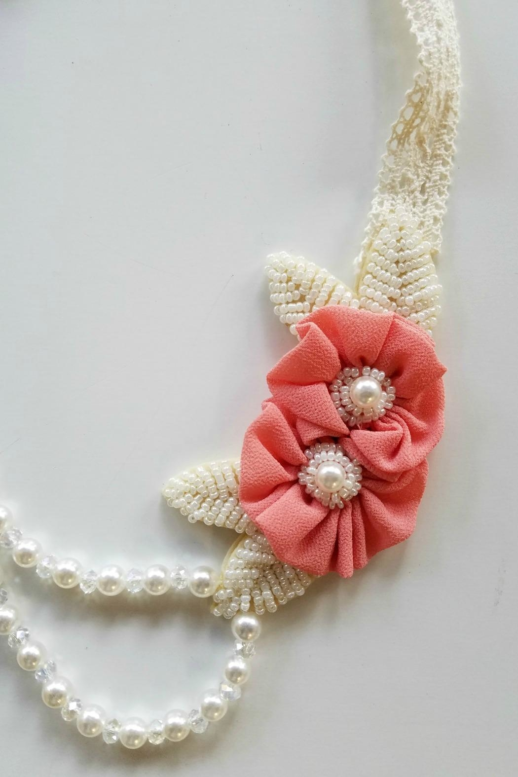 ML Kids Double-Rosette-Beaded-Pearl-Necklace - Front Full Image