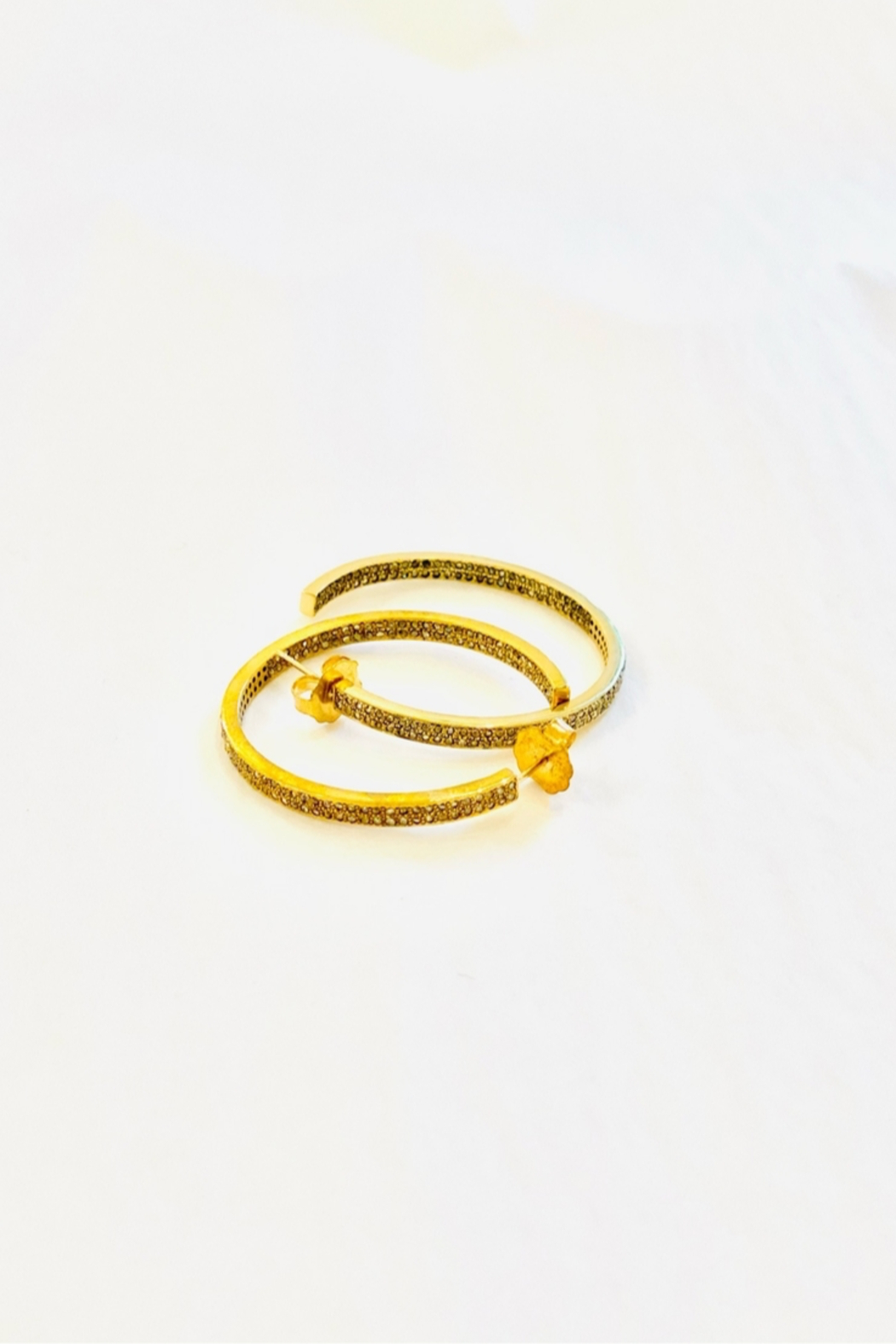 The Woods Fine Jewelry  Double Row Brass Hoops - Front Full Image
