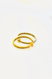 The Woods Fine Jewelry  Double Row Brass Hoops - Front full body