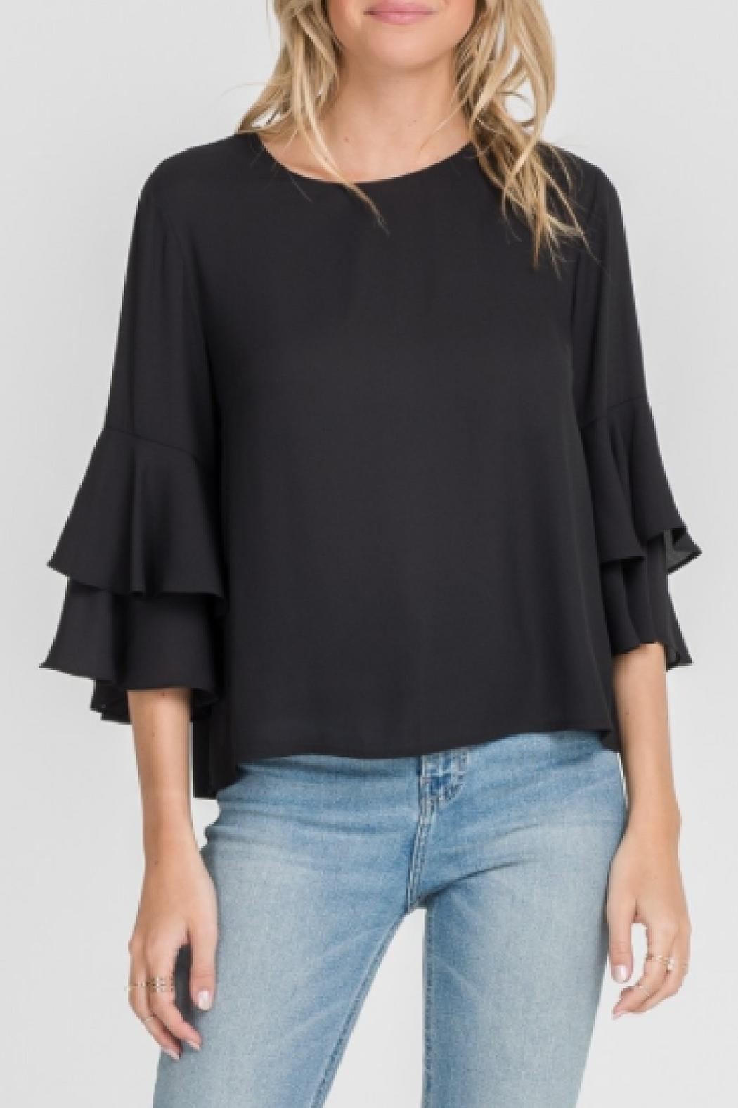 Lush Double Ruffle Top - Front Cropped Image