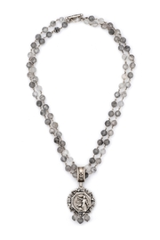 French Kande DOUBLE STRAND FACETED CLOUDY QUARTZ WITH SILVER WIRE, LACE MEDALLION AND CLOUDY DANGLES - Product Mini Image