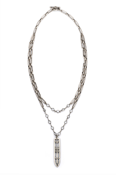 French Kande DOUBLE STRAND VERSAILLES CHAIN AND SWAROVSKI WITH SWORD & CROWN PENDANT - Alternate List Image