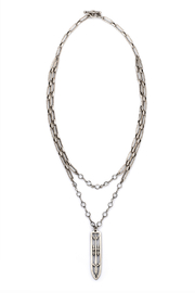 French Kande DOUBLE STRAND VERSAILLES CHAIN AND SWAROVSKI WITH SWORD & CROWN PENDANT - Product Mini Image