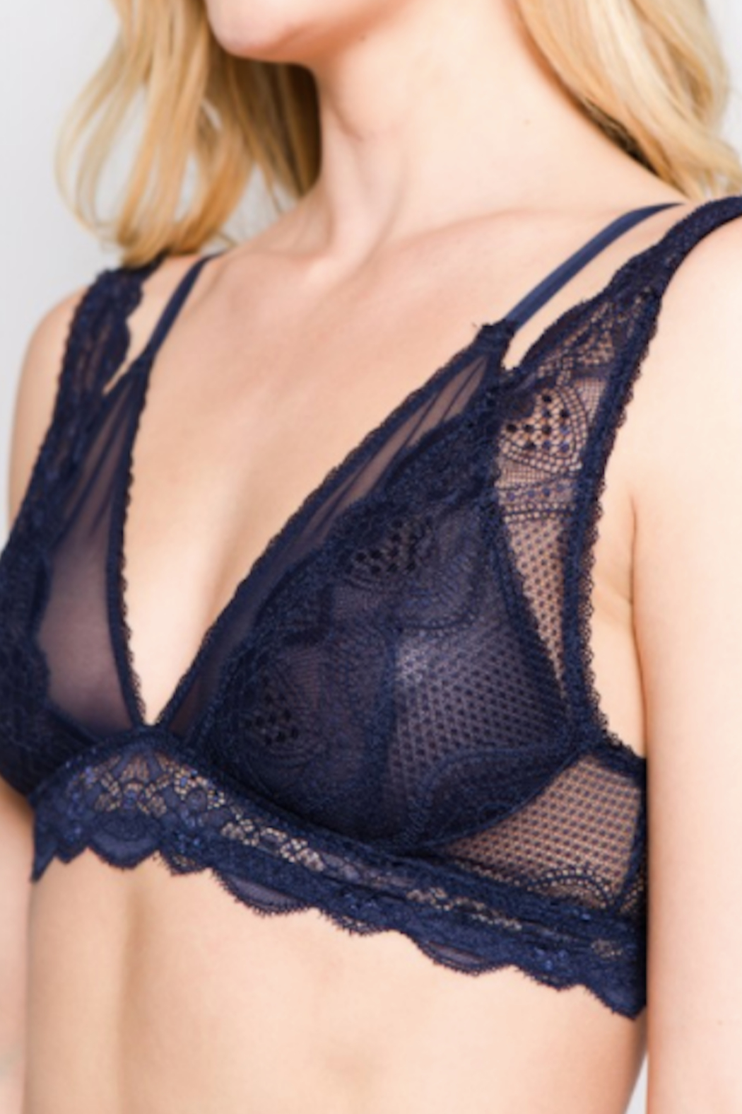 Anemone Double strap lace bralette - Front Cropped Image