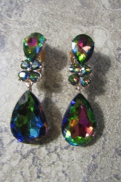 Sophia DOUBLE TEARDROP STONE CLIP EARRING - Alternate List Image