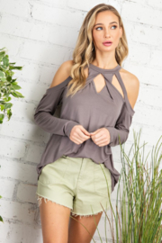 143 Story Double Twisted Cutout Mock Neck Top - Product Mini Image