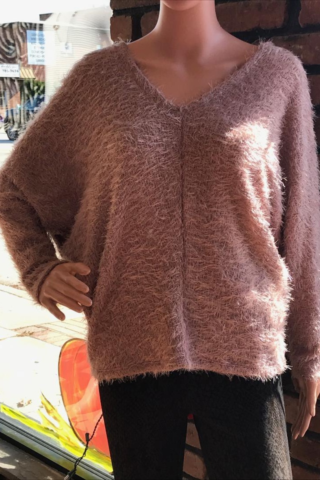 Six Fifty Double V Fuzzy Dolman Top - Front Cropped Image