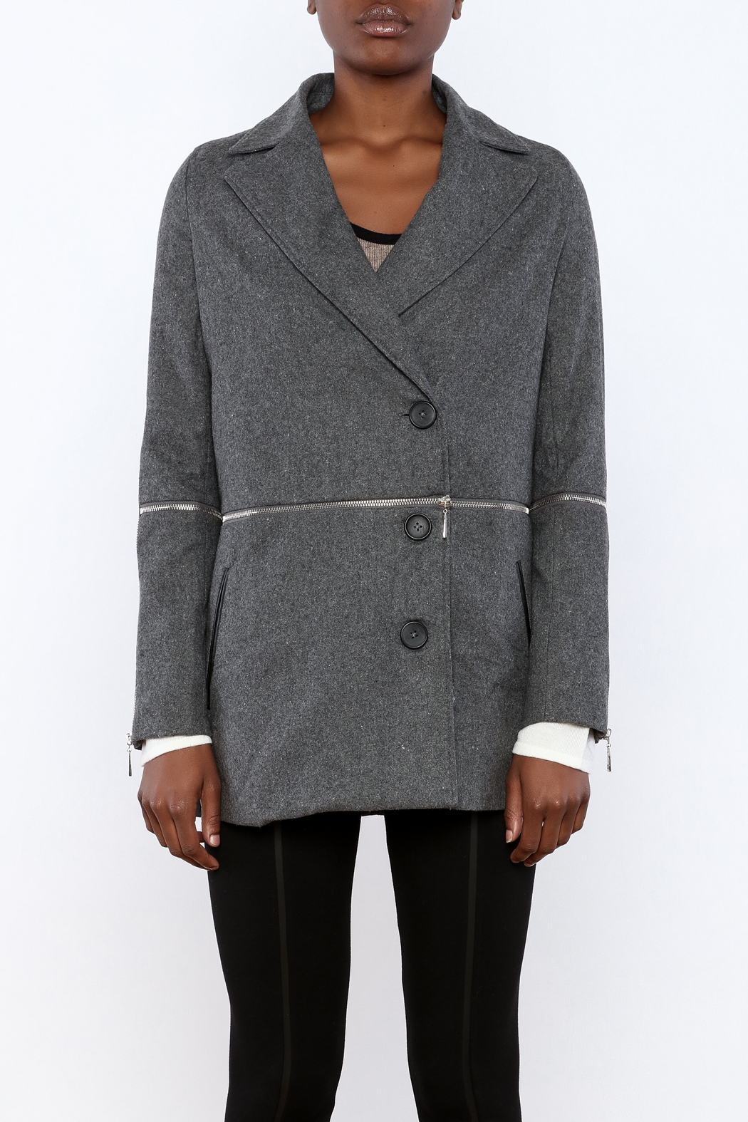 Double Zero Twofer Charcoal Jacket - Side Cropped Image
