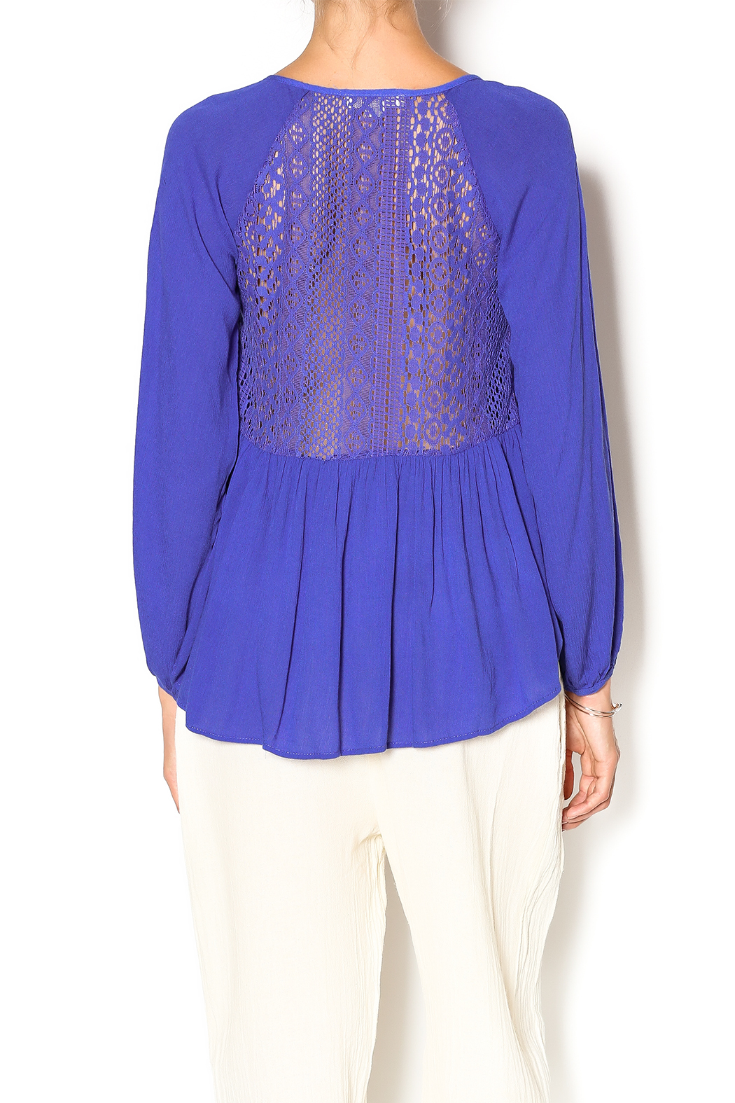 Double Zero Azure Gauze Blouse - Back Cropped Image