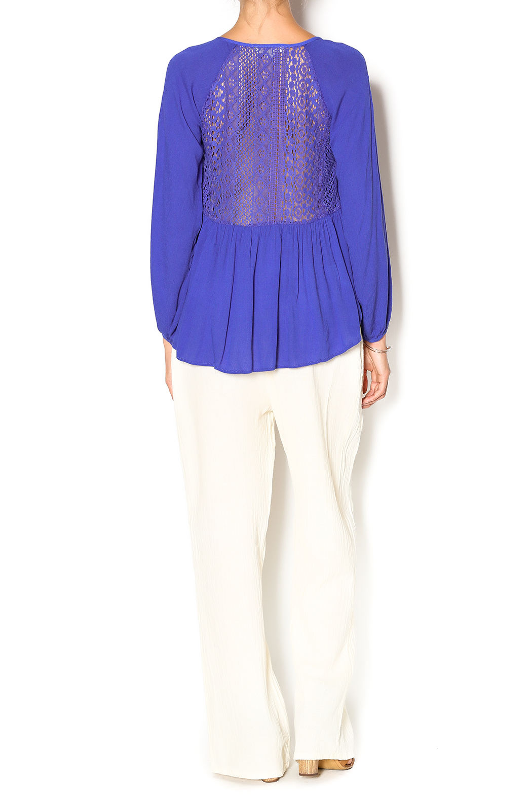Double Zero Azure Gauze Blouse - Side Cropped Image