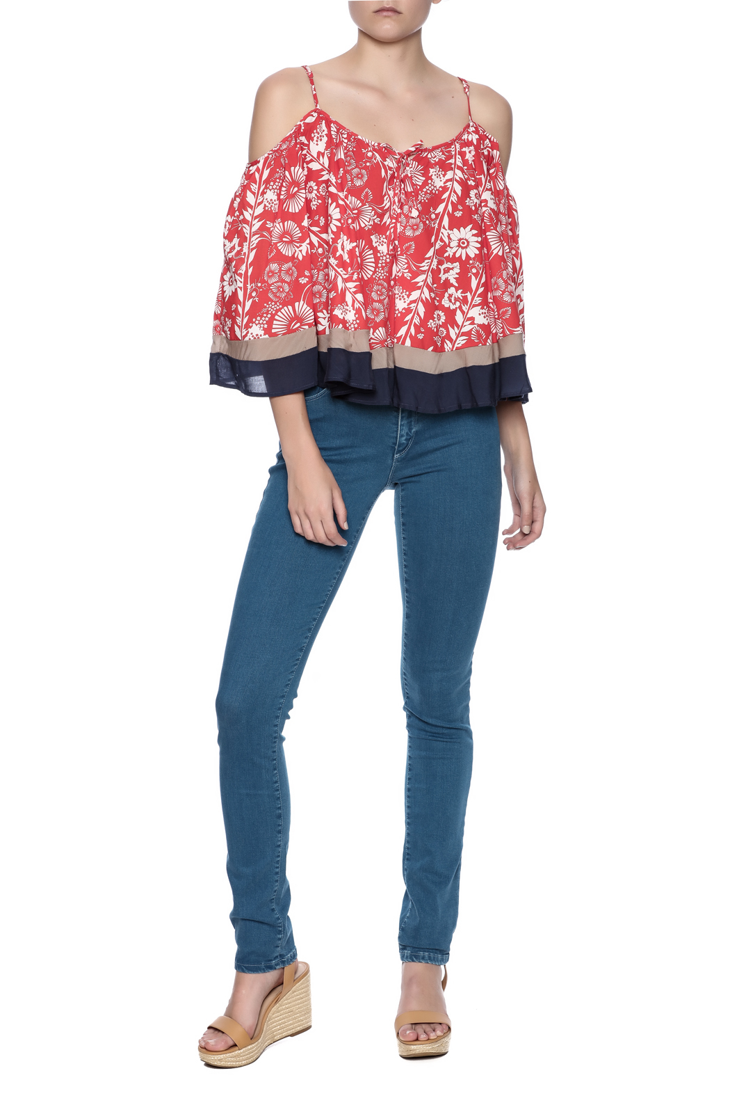 Double Zero Cold Shoulder Top - Front Full Image