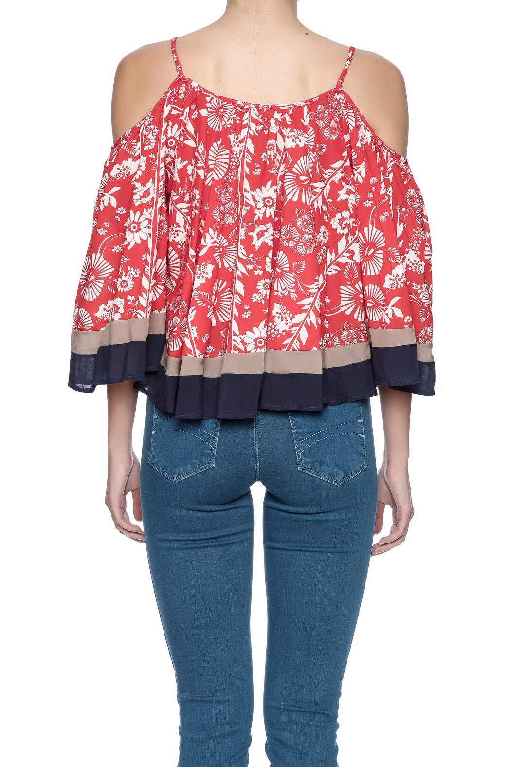 Double Zero Cold Shoulder Top - Back Cropped Image